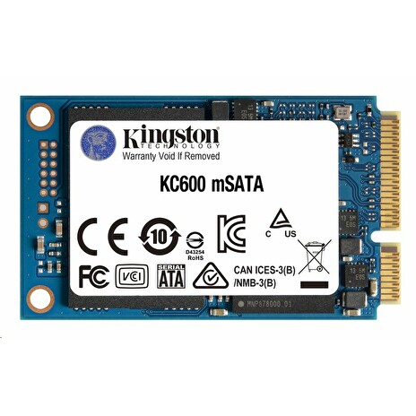 Kingston SSD 1024GB KC600 mSATA 3D TLC SM2259 (čtení/zápis: 550/520MB/s)